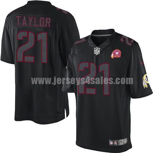 Nike Redskins #21 Sean Taylor Black With 80TH Patch Men's Stitched NFL Impact Limited Jersey