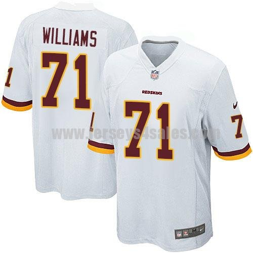 Youth Washington Redskins #71 Trent Williams White Stitched Nike NFL Road Elite Jersey