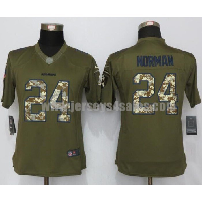 Women's Washington Redskins #24 Josh Norman Green Stitched Nike NFL Salute To Service Limited Jersey