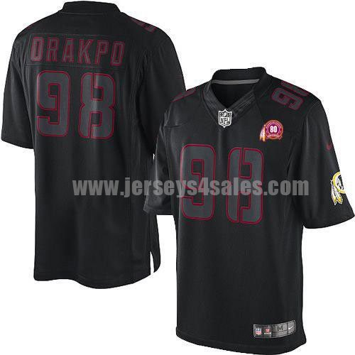 Nike Redskins #98 Brian Orakpo Black With 80TH Patch Men's Stitched NFL Impact Limited Jersey