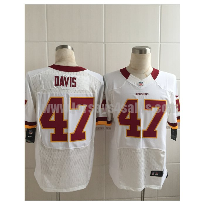 Men's Washington Redskins #47 Akeem Davis White Road Stitched Nike NFL Elite Jersey