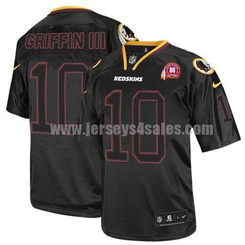 Nike Redskins #10 Robert Griffin III Lights Out Black With 80TH Patch Men's Stitched NFL Elite Jersey