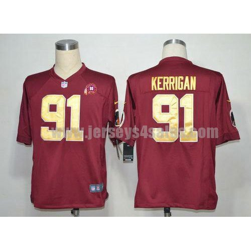 Nike Redskins #91 Ryan Kerrigan Burgundy Red Gold No. Alternate With 80TH Patch Men's Stitched NFL Game Jersey