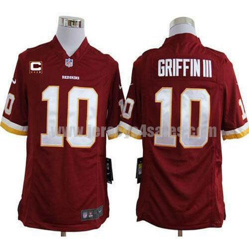 Nike Redskins #10 Robert Griffin III Burgundy Red Team Color With C Patch Men's Stitched NFL Game Jersey