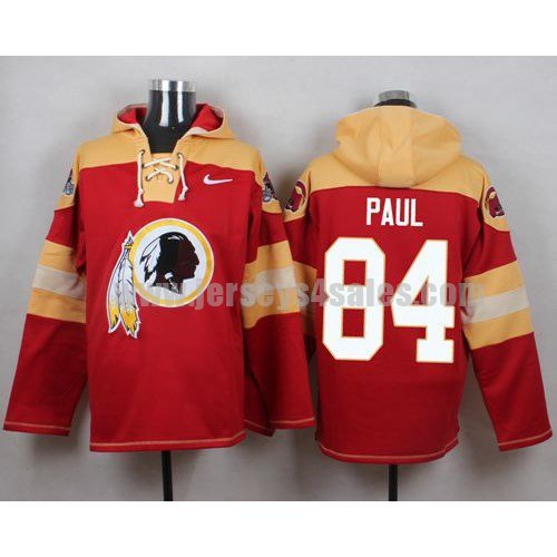 Men's Washington Redskins #84 Niles Paul Big Logo Print Lace-Up NFL Hoodie - Red