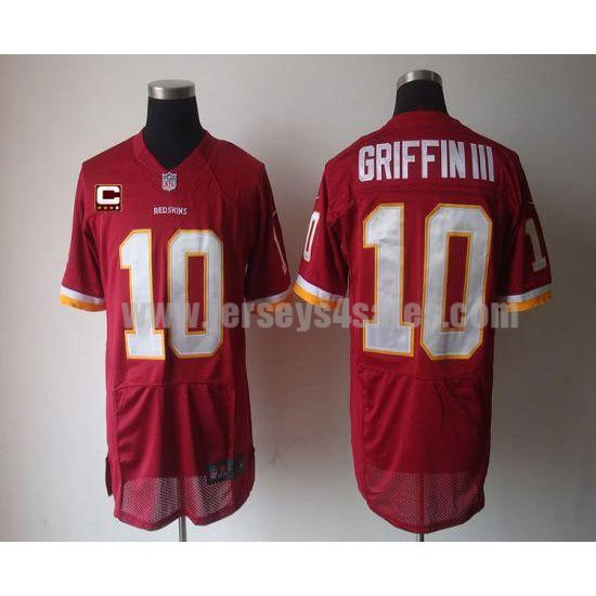 Nike Redskins #10 Robert Griffin III Burgundy Red Team Color With C Patch Men's Stitched NFL Elite Jersey