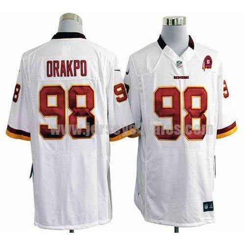 Nike Redskins #98 Brian Orakpo White With 80TH Patch Men's Embroidered NFL Game Jersey